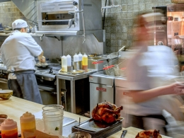 Line chefs in a restaurant kitchen